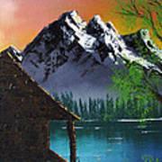 Mountain Lake Cabin W Eagles Art Print