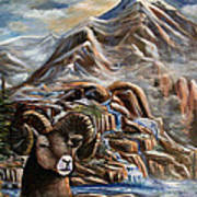 Mountain Ram Art Print