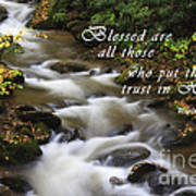 Mountain Stream With Scripture Art Print