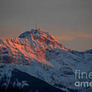 Mountain Sunset In Switzerland Art Print