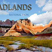 Mountains And Sky In The Badlands National Park  Art Print