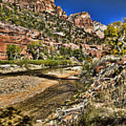 Mountains And Virgin River - Zion Art Print