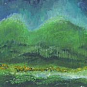 Mountains At Night Art Print