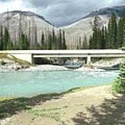 Mountains Green River Under Bridge Art Print