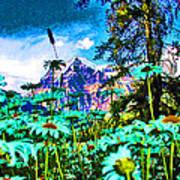 Mountains Hiding Behind Flowers Art Print