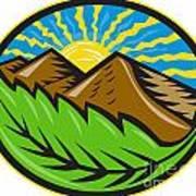 Mountains Leaf Sunburst Retro Art Print