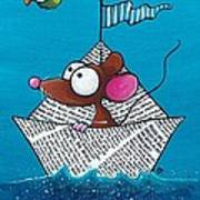 Mouse In His Paper Boat Art Print
