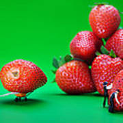 Moving Strawberries To Depict Friction Food Physics Art Print