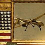 Mq-1 Predator Rustic Flag Art Print