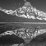 1m3641-bw-mt. Chephren Reflect  Art Print