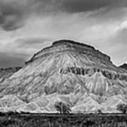 Mt. Garfield - Black And White Art Print