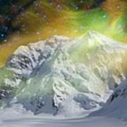 Mt. Hunter Aurora # Da 129 Art Print