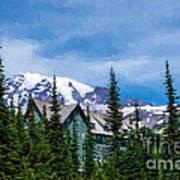Mt Rainier And Paradise Inn Art Print