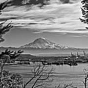 Mt. Rainier Over The Port Of Tacoma Art Print