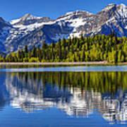 Mt. Timpanogos Reflected In Silver Flat Reservoir - Utah Art Print