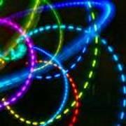 Multi-color Light Orbits Art Print