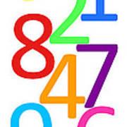 Multi-color Numbers Art Print