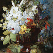 Multi-colored Flower Bouquet In Brown Vase C1784 Art Print