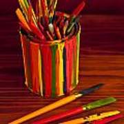 Multi Colored Paint Brushes Art Print