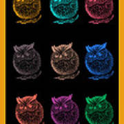 Multicolor Owl Art Print