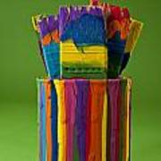Multicolored Paint Can With Brushes Art Print