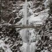 Multnoma Falls In Winter Art Print