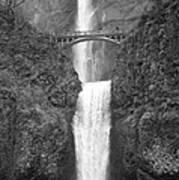 Multnomah Double Falls - Bw Art Print
