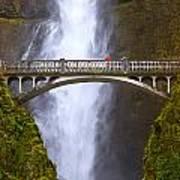 Multnomah Falls Bridge In Oregon Art Print