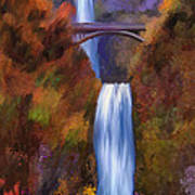 Multnomah Falls In Autumn Art Print
