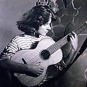 Mum Chris With Her Guitar Gitana Art Print