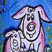 Mummy And Baby Pig  Art Print