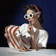 Muriel Maxel Applying Lipstick Art Print