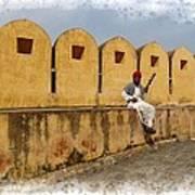 Musician - Amber Palace - India Rajasthan Jaipur Art Print