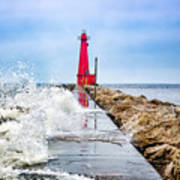 Muskegon Channel South Pier Lighthouse and Wave, Lake Michigan Art Print