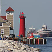 Muskegon Coast Guard And Light House Art Print