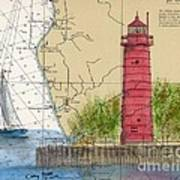 Muskegon Lighthouse Mi Nautical Chart Map Art Cathy Peek Art Print