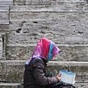 Muslim Woman At Mosque Art Print