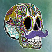 Mustache Sugar Skull Art Print by Tammy Wetzel