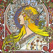 My Acrylic Painting As An Interpretation Of The Famous Artwork Of Alphonse Mucha - Zodiac - Art Print