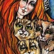 My Three Cats Art Print