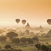 Myanmar Burma - Balloons Flying Over Art Print