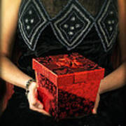 Mysterious Woman With Red Box Art Print