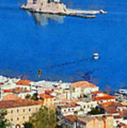 Nafplio And Bourtzi Fortress Art Print