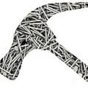 Nails Forming Shape Of Hammer Art Print