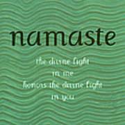 Namaste With Blue Waves Art Print