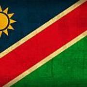 Namibia Flag Vintage Distressed Finish Art Print