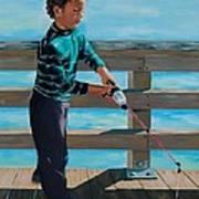 Naples Boy Fishing Art Print