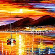 Naples-sunset Above Vesuvius - Palette Knife Oil Painting On Canvas By Leonid Afremov Art Print
