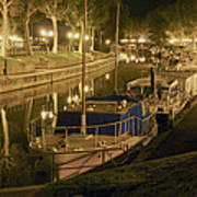 Narbonne France Canal De La Robine At Night Dsc01657  Art Print