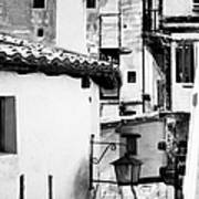 Narrow Streets Of Albarracin  Black And White Art Print